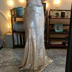 Lucy Paris Rose Gold Sequin Mermaid Skirt (M)